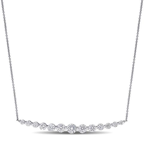 Miadora 2 1/2ct DEW Moissanite Graduated Bar Necklace in 10k White Gold - 5.1 mm x 16 in x 58.5 mm