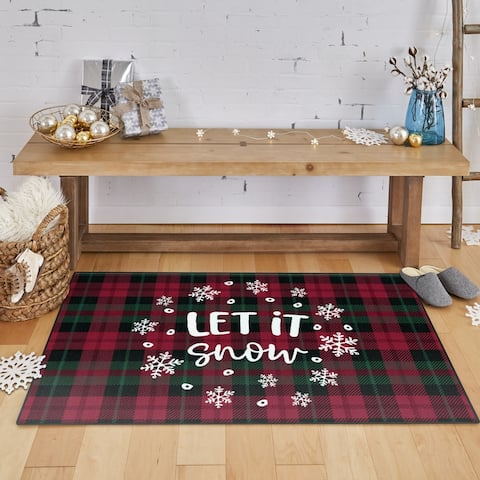 Mohawk Prismatic Let It Snow Plaid Area Rug