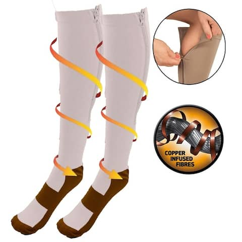 Copper Energy Infused Zipper Compression Closed Toe Socks - Zip Up Circulation Pressure Stockings