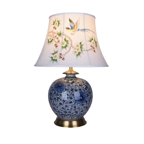 Porcelain Base Table Lamp With Hand Painted