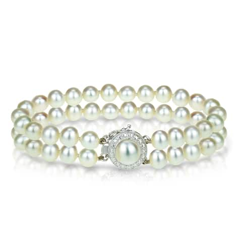 Double Row Freshwater Cultured Pearl Bracelet 6-6.5mm with 14k White Gold Diamond Illusion Clasp
