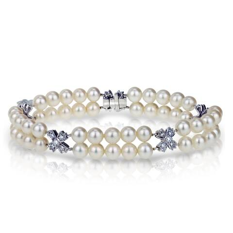 Flower Design Diamond 0.489cttw with Double Row 5.5-6mm White Freshwater Cultured Pearl 14k White Gold