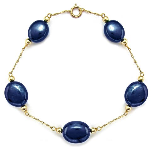 Chain Station Bracelet with 8x14mm Blue Sapphire in 14k Yellow Gold 7.5inches Long