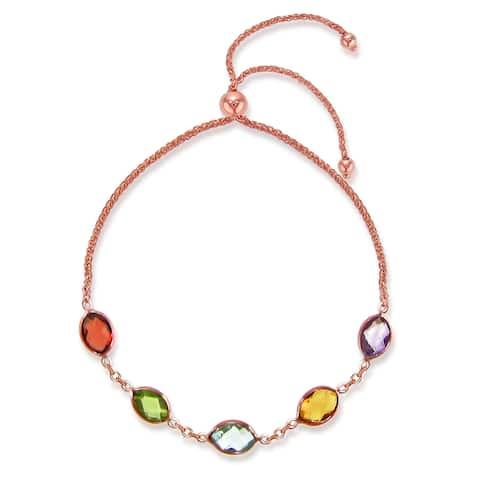 "Bolo Bracelet 14k Rose Gold with 4x6mm Oval Shape Multi-Color Simulated Gemstones Charm Bracelet 9.25"""