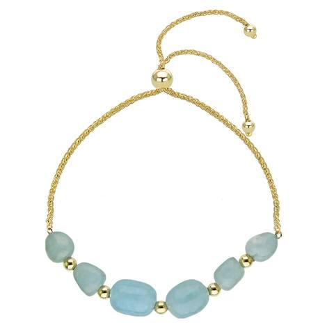 """Bolo Bracelet with Multi-shape Simulated Aquamarine 14k Yellow Gold Tennis Bracelet 9.25"""""""