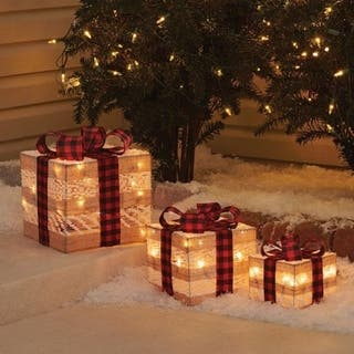 Celebrations Christmas Gift Boxes Outdoor Decor Burlap 3 pk
