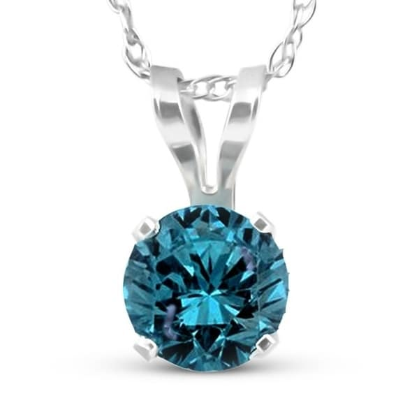 Prism Jewel Round 0.15Ct Prong Set Blue Diamond Solitaire Pendant 14k White Gold