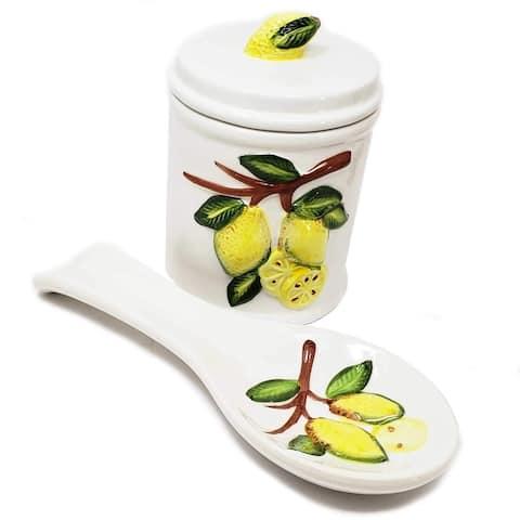 Tuscan Style Lemon Design Ceramic Stoneware Spoon Rest & Jar Set for Home Kitchen