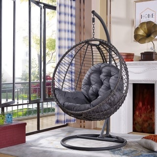 Havenside Home Rowlee Grey Large Hanging Chair with Stand