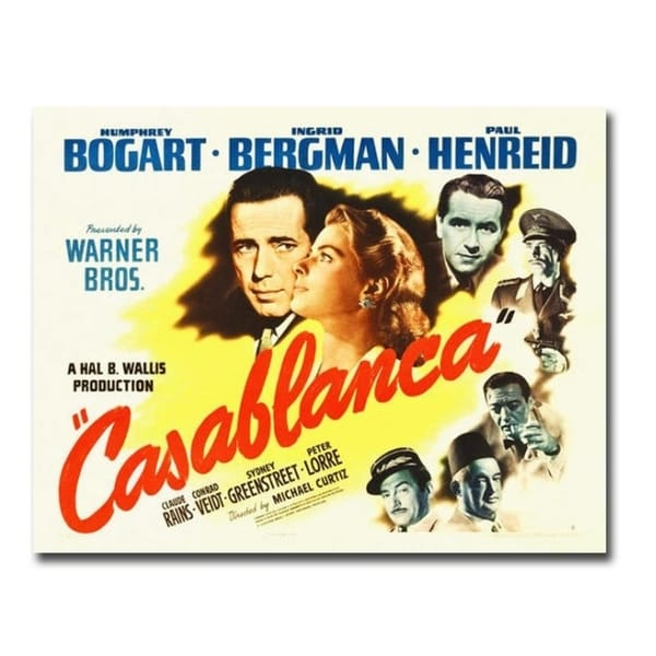Casablanca Movie Poster Gallery Wrapped Canvas Giclee Art (24 in x 32 in)