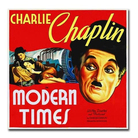 Charlie Chaplin, Modern Times Movie Poster Gallery Wrapped Canvas Giclee Art (30 in x 30 in)