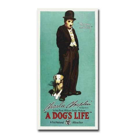 Charlie Chaplin, A Dog's Life Movie Poster Gallery Wrapped Canvas Giclee Art (36 in x 18 in)