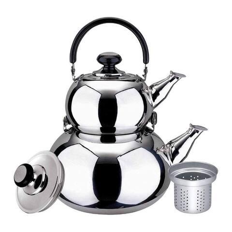 Turkish Double Tea Kettle Pot - Samovar Style Water Boiler Kettle with Strainer - 1 Liter & 3 Liter Pots