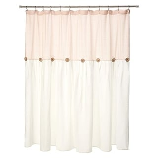 "Cotton Button Shower Curtain Blush and White 72"" x 72"""