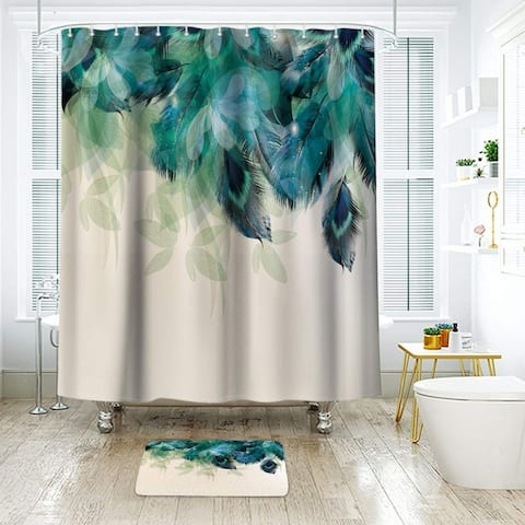 """Extra Long Polyester Shower Curtain with Hooks Peacock 72"""" x 78"""""""