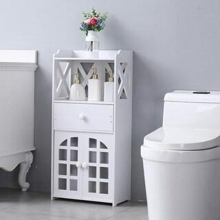 Bathroom Floor Storage Cabinet Shelf with Drawer Double Door White
