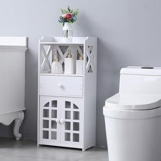 Bathroom Floor Storage Cabinet Shelf with Drawer Double Door White