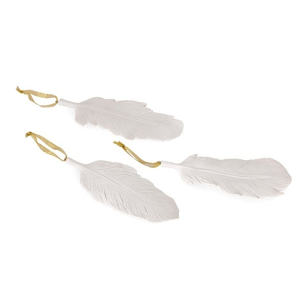 Resin Decorative Feather Shaped Ornament Set with Threads, White
