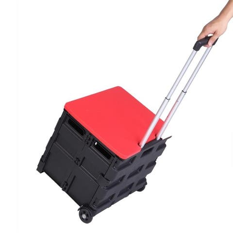 Two Wheeled Collapsible Handcart Shopping Carts Rolling Trolley Storage Lightweight