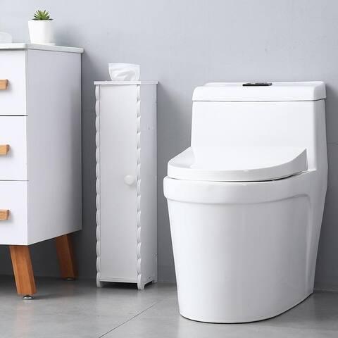 "26.5"" Height Paper Towel Storage Narrow Cabinet Bathroom Floor Cabinet Storage Organizer"