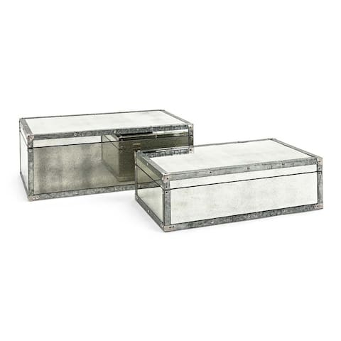 Rectangular Wooden Storage Trunk Set with Mirror Accents, Silver