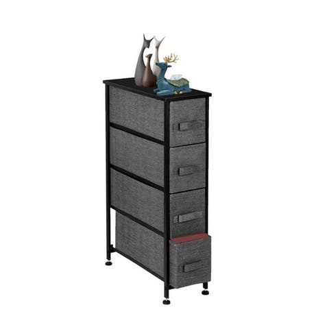 Narrow Dresser Tower with 4 Drawers - Vertical Storage for Bedroom, Bathroom, Laundry, Closets