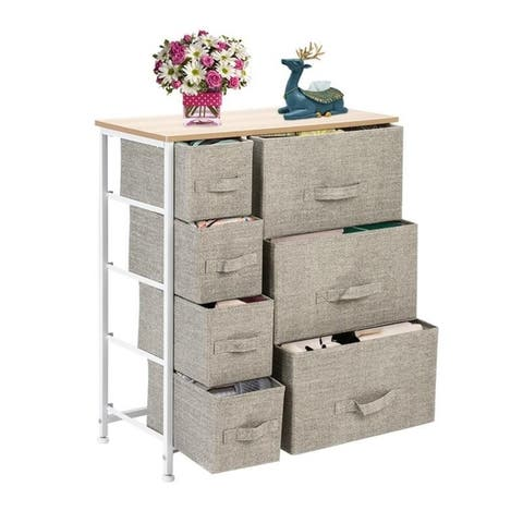 Wide Dresser Storage Tower - Sturdy Steel Frame, Wood Top, Easy Pull Fabric Bins - Organizer Unit