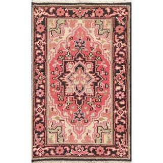 "Traditional Heriz Carpet Hand Knotted Wool Oriental Indian Area Rug - 4'10"" x 3'0"""