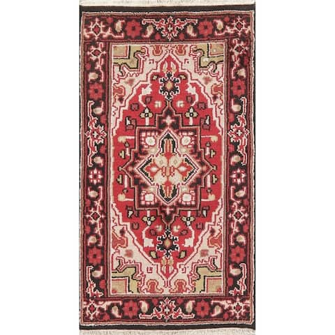 """Traditional Heriz Indian Carpet Hand Knotted Wool Oriental Area Rug - 5'0"""" x 3'0"""""""