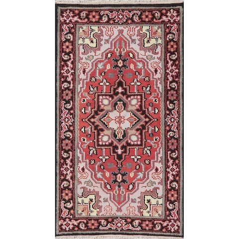 """Heriz Indian Carpet Oriental Hand Knotted Wool Traditional Area Rug - 5'3"""" x 2'11"""""""
