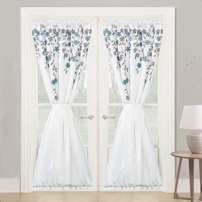 Porch & Den Oneida Floral Faux Silk Room Darkening Door Curtain Panel