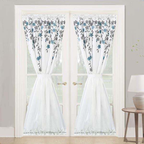 Shop Porch Den Oneida Floral Faux Silk Room Darkening Door Curtain Panel Overstock 29347616