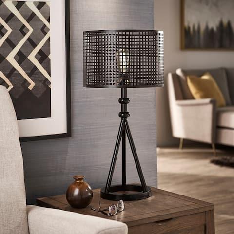 Hadley Black Finish Metal Table Lamp by iNSPIRE Q Modern