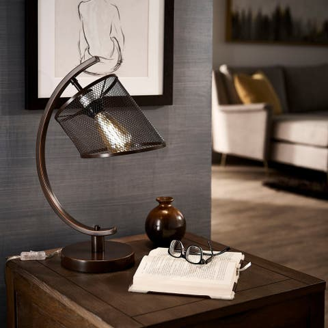Hurley Black Finish Arched Metal Table Lamp by iNSPIRE Q Modern