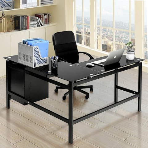 Superday Home Office L-Shaped Desk w/Drawers