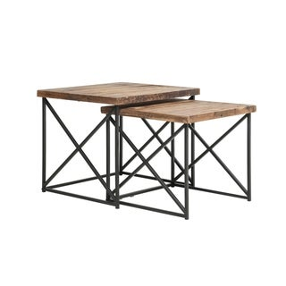 Industrial Wood Nesting Table with Metal Base,Set of 2,Brown and Black