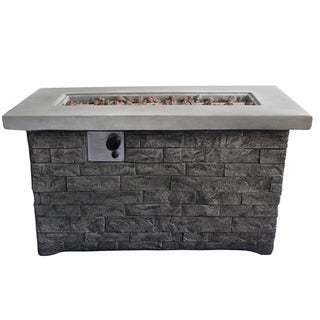 Rectangular Brick Style Gas Fire Pit Table with Metal Lid, Gray
