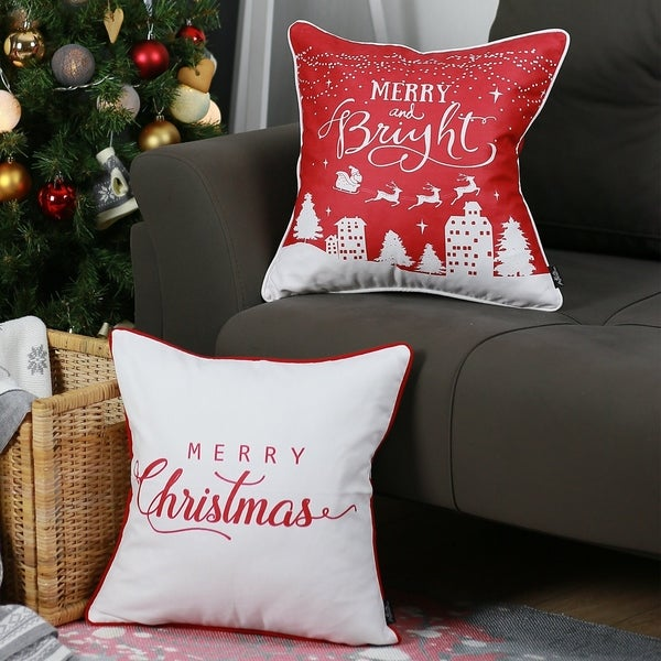 """Merry Christmas Set of 2 Throw Pillow Covers Christmas Gift 18""""x18"""". Opens flyout."""