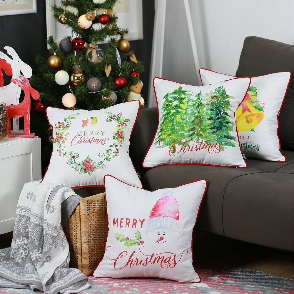 Christmas Set of 4 Throw Pillow Covers