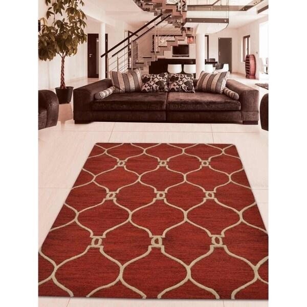Geometric Hand Tufted Moroccan Trellis Carpet Indian Oriental Area Rug