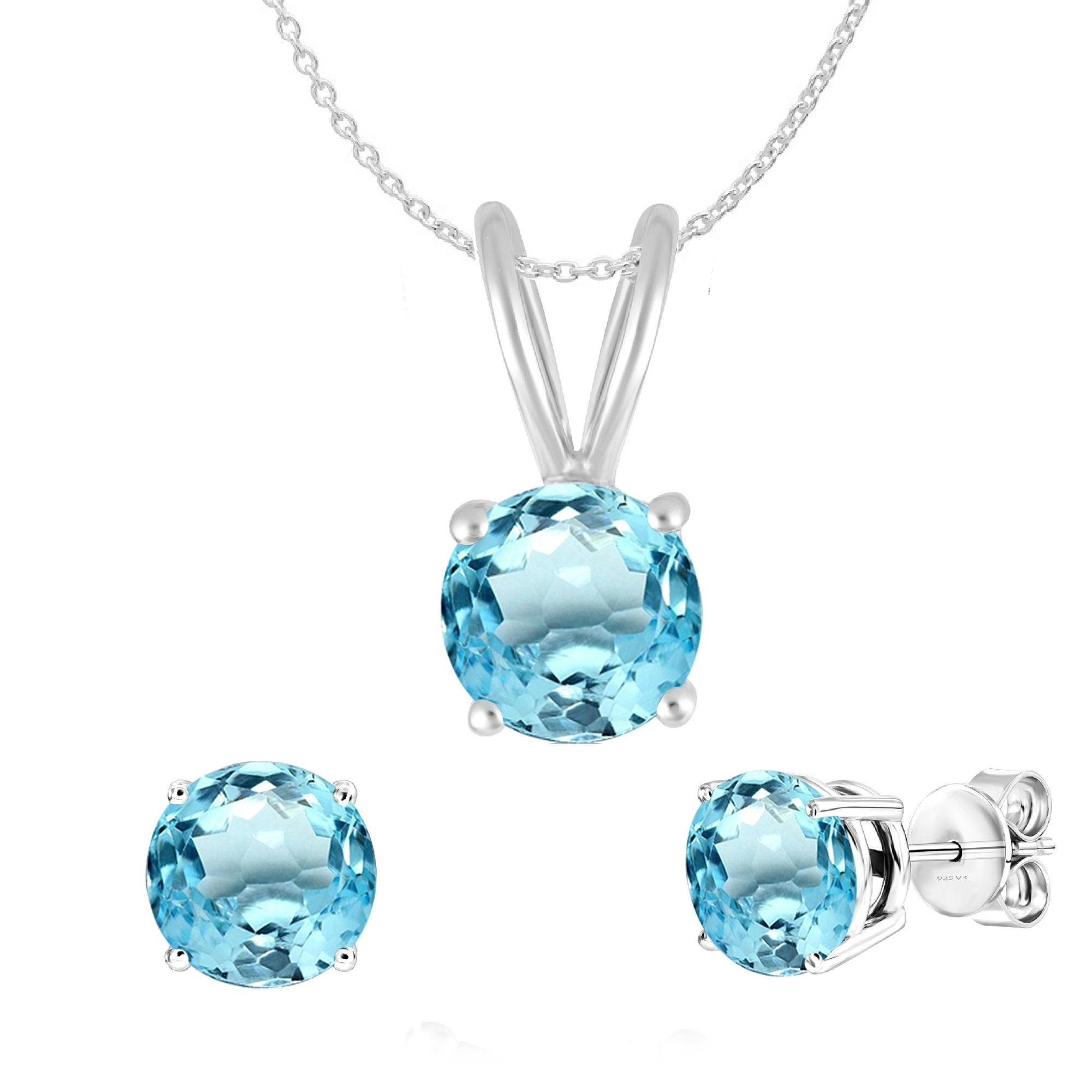 Details about  /Certified Natural Sky Blue Topaz 925 Sterling Silver Ring Pendant Earrings Set