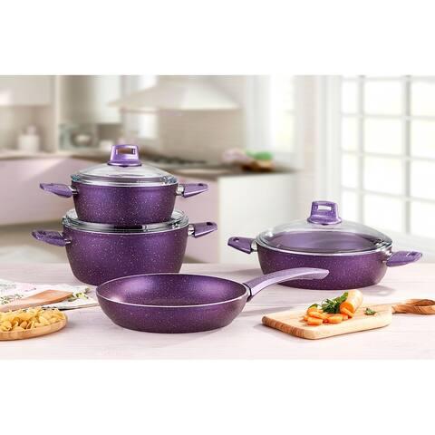 Fiesta Granite Cookware Set, 7 pcs, Purple