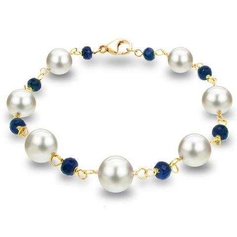 14k Yellow Gold Bracelet with 8-8.5mm White Freshwater Cultured Pearl and 4mm Blue Sapphire, 7.75 in