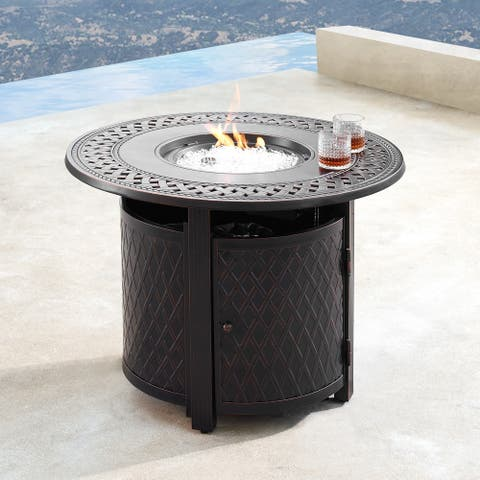 Aluminum Outdoor 34 in. Round Propane Fire Table with Fire Beads, Lid and Fabric Cover in Antique Copper Finish