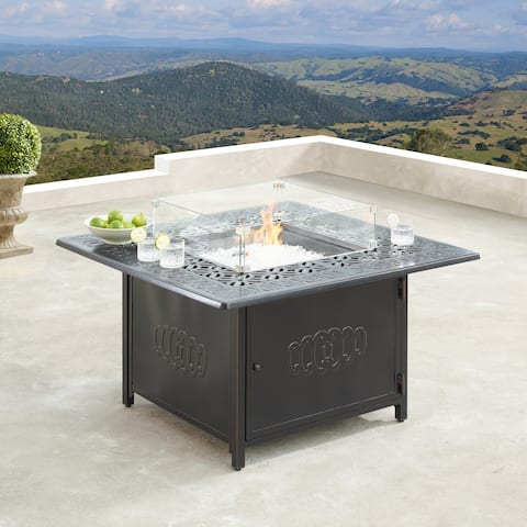 Aluminum Outdoor 42 in. Square Propane Fire Table with Wind Blockers, Fire Beads, Lid and Fabric Cover in Antique Copper Finish