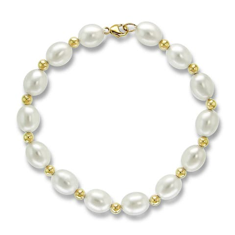 Freshwater Cultured 8-8.5mm Pearl Bracelet with 4mm Gold Beads in 14k Yellow Gold 7.5inches