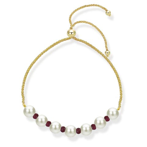 Bolo Bracelet with Simulated Gemstone and Freshwater Culured Pearl 14k Yellow Gold Tennis Bracelet