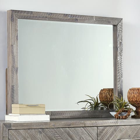 The Gray Barn Daybreak Solid Wood Solid Wood Beveled Glass Mirror in Rustic Latte - Grey