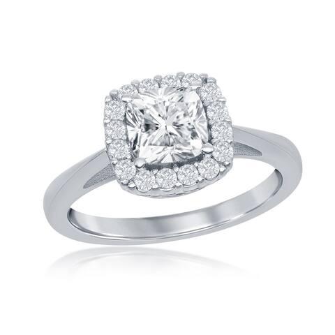 La Preciosa Silver Tone 9mm Four-Prong Princess-Cut Cubic Zirconia Square Bridal Engagement Band Ring
