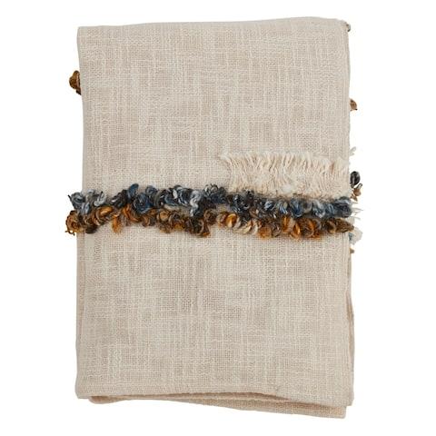 Embroidered Design Cotton Throw